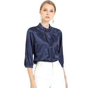 Allegra K Women's Collar Elegant 3/4 Sleeve Work Blouse Animal Print Pleated Top Large Navy