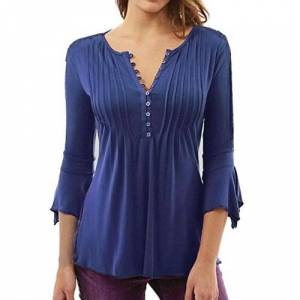 HARRYSTORE Women's Angel Sleeve Top Plus Size Slim V Neck Buttons Blouse Tops Shirt Lace T-Shirt Casual Shirt Spring Summer Sweatshirts (UK 22, Blue)
