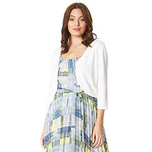 Roman Originals Women Plain Shrug Bolero Jacket - Ladies 3/4 Length Sleeve Lightweight Knitwear Smart Casual Workwear Office Cover Up Colour Block Cardigan Cardie - Ivory - Size 18