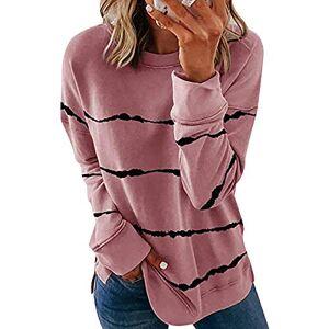 Crewneck Striped Sweatshirt Women Ladies Round Neck Sweatshirts Womens Oversized Sweatshirt Long Sleeve Pullover Jumper Women Loose Top Sweatshirt Plus Size Sweat Tops Womens Sports Jumpers Pink L
