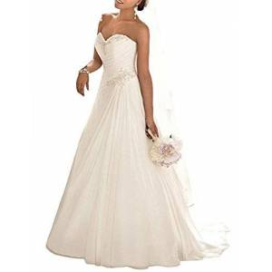 ANJURUISI Women's Sweetheart Applique Beaded Bride Gown Sexy Chiffon Beach Wedding Dress White-UK22 Plus