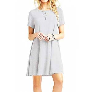 YOUCHAN Tshirt Dress Women Summer Swing Dresses Tee Shirt Short Sleeve Casual Basic Tops T-Shirt A line Loose Fit-Light Grey-XS