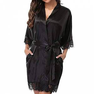 Nobranded Summer Breathable Pajamas Ladies Sexy ice Silk Plus Size Casual Nightdress Black