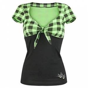 Rovinci_Women's Spell Color Bow Short-Sleeved Shirt Pullover Tops Shirt Casual Blouse V Neck Checked Patchwork T-Shirt Patched Sweatshirt Loose Blouses Tunic Tops Plus Size Green