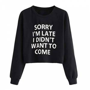 Women Jumpers Sweatshirt, Sorry I'm Late I Didn't Want to Come, Toamen Long Sleeve Letter Print Pullover Tops, Casual Sweater Outerwear (Wine, 16)