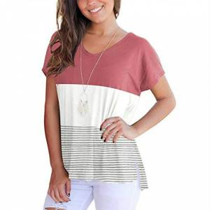HOLYSNOW Ladies Sport Pullover Tops Blouse Loose Fit Striped Round Neck Striped Short Sleeve Tops, tag 2X=UK 14, Pink 3