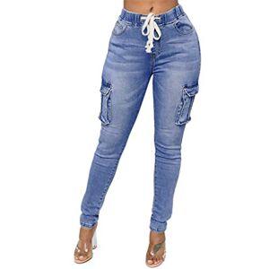Jiegorge4065 jieGorge Pants for Women, Women Fashion Daily Hight Waisted Denim Jeans Stretch Slim Pants Length Jeans, Trousers Pants Casual (Blue S)