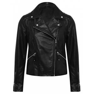 M&Co Ladies 100% Leather Biker Jacket Black 22
