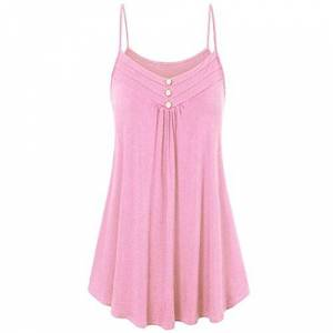 HARRYSTORE Women Summer Pleated Tank Tops Lady Strappy Button Ruffle Swings Spaghetti Vest Plain Cami Crop Tops Blouse (UK 22, Pink)