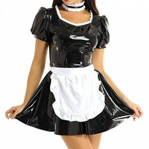 Agoky Women's Sexy Lingerie Maid Costume PVC Leather Wet Look A Line French Apron Dress Nightwear Clubwear Halloween Costume Black X-Large