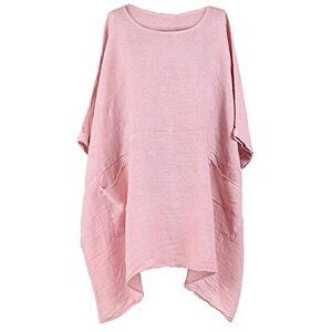 Gracious Girl Women Italian Lagenlook 2 Pocket Boxy Plain Linen Women Tunic Top Plus Size Light Pink