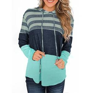GOSOPIN Womens Casual Loose Jumper Hooded Pullover Tops Contrast Color Patchwork Striped Sweatshirt Tunics Green UK 16
