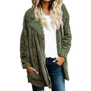 Ni_ka Womens Ladies Warm Faux Fur Coat Jacket Winter Solid Long Outerwear Green X-Large