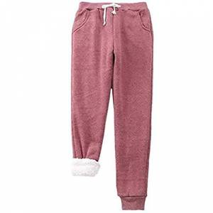 GYYlucky Women Warm Casual Trousers, Winter Imitation Cashmere Jogger Pant, Thickened Fleece Lined Sweatpants Sports Pants for Women Casual Tracksuit Joggers (Color : Red Wine, Size : L)