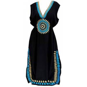 LA LEELA Women's Summer Holiday Solid Plain Bikini Cover Up Sun Swimwear Beachwear Embroidered Long Dress Halloween Black_V489 [OSFM] UK: 14 (M) - 24 (2XL)