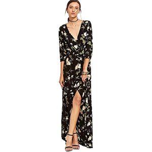 Women's Button Split Floral Print Flowy Square Long Dress-Medium_A-Black-Green