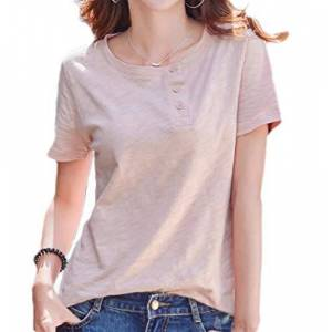 GRMO Women Summer Short Sleeve Solid Color O Neck Cotton Blouse T Shirts Pink US S