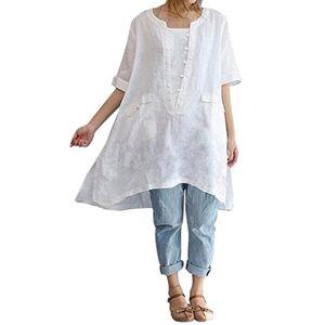 FNKDOR Summer Autumn Women Plus Size Irregular Fashion Loose Linen Short Sleeved Shirt Vintage Vocation Traveling Beach Swimwear Blouse Jumper(White,UK-20/CN-2XL) (UK-22/CN-3XL, White)