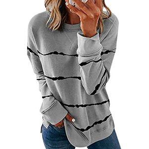 Women's Black Long-Sleeved Striped Printed T-Shirt Large Size 5XL Casual T-Shirt Black Autumn Top O-Neck Loose Sport Women's T-Shirts - - XXL