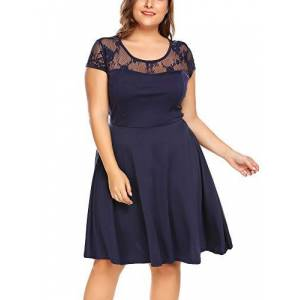 IN'VOLAND Women's Plus Size Summer Lace Dress Short Sleeves Casual Midi Swing Party Dress Round Neck Floral Vintage Cocktail Dresses Navy Blue