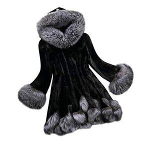 TOPKEAL Coat Women Winter Jacket Ladies Long Sleeve Parka Warm Fox Fur Overcoat Casual Fashion Outwear (Black, XXX-Large)