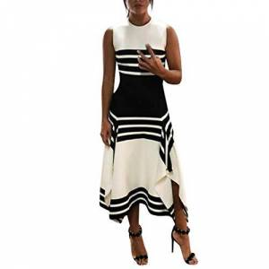 iHENGH Dresses for Women 2019d Women Stripe Sleeveless Casual Dress Women Round Neck Vestido Midi Party Dresses(White,Small)