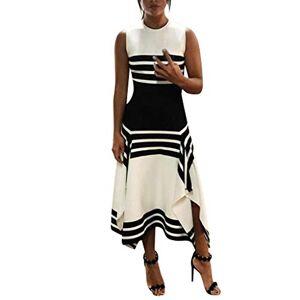HCFKJ Womens Dresses Size 6 8 10 12 14 16 18 20 Women Stripe Sleeveless Casual Dress Women Round Neck Vestido Midi Party Dresses 1950's -2020's White