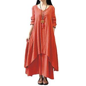 Romacci Women Boho Dress Casual Irregular Maxi Dresses Vintage Loose Long Sleeve Cotton Viscose Dress,Gr.XX-Large-Orange