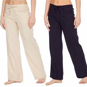 Style It Up Womens Ladies Linen Trousers Pants Summer Casual Holiday Beach Chino Khaki Cargo, (Beige/Navy - 2 Pairs, UK 22)