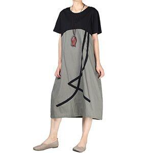 Mallimoda Women's Summer Casual Tunic Dresses Short Sleeve Swing Loose Dress Grey M