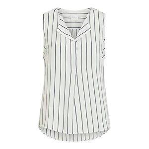 VILA CLOTHES Women's Vilucy S/l Top - Noos Vest, Multicolour (Snow White Stripes: Total Eclipse), 14 (Size: Large)
