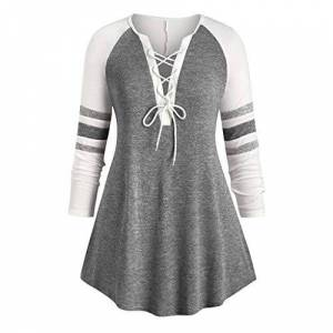 Younthone Women'S Casual Loose Sweatshirt Bandage V Neck Long Sleeve Pachwork Striped Print Tops Party Pullover Dress Fluffy Sweater T-Shirt Everyday Blouse Ladies Large Size Knitted Jumper UK 18-28