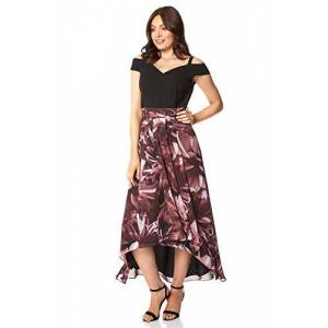 Roman Originals Women Floral Print Cold Shoulder Maxi Dress - Ladies Chiffon Midi Long Special Occasion Wedding Guest Mother of The Bride Groom Prom Flower Printed Asymmetric - Black & Pink - Size 16