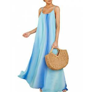 ZANZEA Women's Summer Dress Casual Loose Strappy Sleeveless Rainbow Sundress Beachwear Kaftan Cover Up Bohemian Dresses 0001-light Blue XX-Large 18