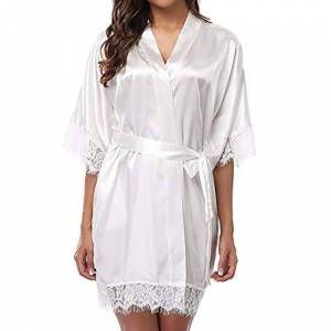 Nobranded Summer Breathable Pajamas Ladies Sexy ice Silk Plus Size Casual Nightdress White