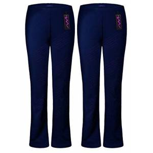 M1427 New Ladies Stretch Trousers Pack of 2 Bootleg Stretch Ribbed Trousers Black Size 8-26 (22, Navy Long (32))