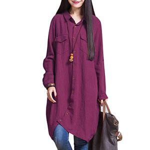 Romacci Women Cotton Linen Long Blouse Irregular Hem Buttons Loose Casual Vintage Top Shirt Dress White/Purple/Dark Blue Purple Large