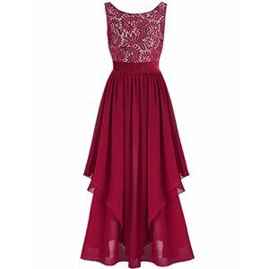 iiniim Summer Boho Women Long Maxi Evening Party Skirt Beach Sundress Chiffon Lace Plus Size Dresses Burgundy X-Large