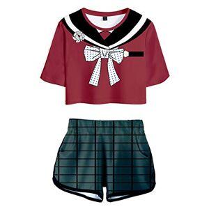 Enhopty Harukawa Maki Killing Harmony Jersey Crop Top & Shorts Set Summer 2 Pieces Casual Wear Suit Cosplay Costume Red Women's XS