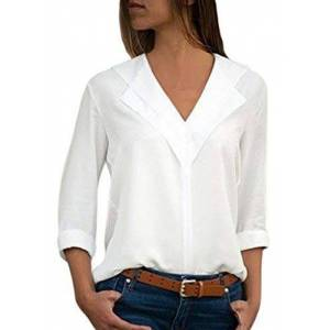 GOSOPIN Womens 3/4 Sleeves Blouses Casual Chiffon Layered Neckline Tops Summer Solid Color T-Shirt White Size 22 24