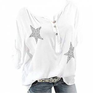 New Women Blouse T-Shirt, Uribaky Pentagram Print 3/4 Sleeve Plus Size Loose Solid Tops with Button White