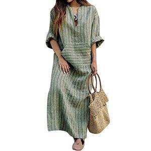 BBYES Women Summer Casual Baggy Striped Long Sleeve Kaftan Boho Maxi Cotton Linen Dresses Green 5X-Large