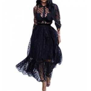 Womens Summer Sexy Casual Long Sleeve Lapel Mesh See Through Mid Long Dress Black XS