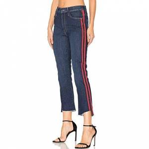 Katenyl Ladies Summer Jeans Fashion Side Stripe Printed High Waist Slim Irregular Straight Cropped Flare Pants with Pockets 28