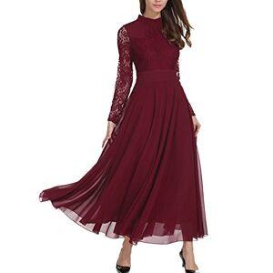 Roiii Women Lace Chiffon Long Formal Evening Wedding Bridesmaid Party Maxi Dress (10-12, Burgundy)