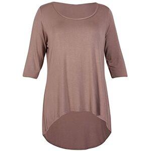 F4S Womens Plus Size Plain 3/4 Three Quarter Sleeve Ladies Round Scoop Neckline Stretch Fishtail Dipped Hemline T-Shirt Top 14-28 (Mocha, UK - 18)