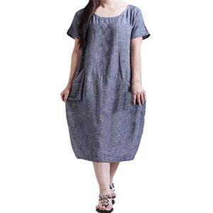 DLSMB Women's SweaterCasual Women Loose Plain Round Neck Pockets Dressfor Womens (Size:18; Color:Blue)