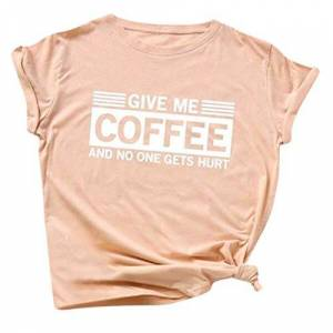 Womens Tops, SHOBDW Ladies Give Me Coffee Letter Printed Large Size Short Sleeve T-Shirt Girls Female Casual Fashion Summer Loose Blouse Clothes(Pink,L)
