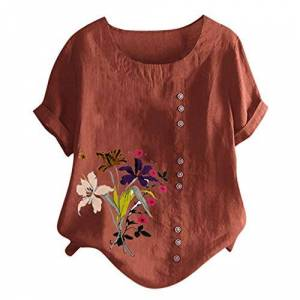 Scenxion Women's Floral Printed Blouse Short Sleeve Tunic Top Summer Tops Plus Size O-Neck Loose Shirt Tops V-Neck Button T Shirt Blouse for Lady Mummy Girl Brown