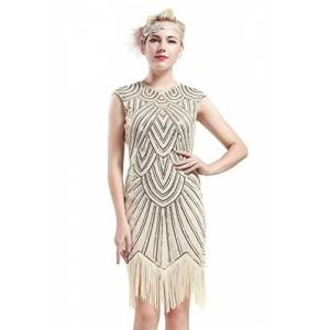 BABEYOND Women's Flapper Dresses 1920s Beaded Fringed Great Gatsby Dress (Beige, M)
